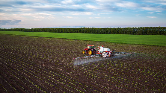 Farming Tractor Spraying On Field At Spring